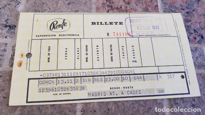 BILLETE DE RENFE, MADRID A CADIZ 1972 (Coleccionismo - Billetes de Transporte)