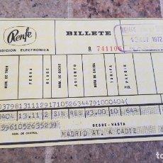 Coleccionismo Billetes de transporte: BILLETE DE RENFE, MADRID A CADIZ 1972. Lote 173976079