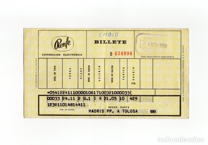 BILLETE DE RENFE. MADRID - TOLOSA. 1969. (Coleccionismo - Billetes de Transporte)