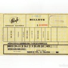 Coleccionismo Billetes de transporte: BILLETE DE RENFE. MADRID - TOLOSA. 1969.. Lote 174188153