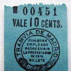 Coleccionismo Billetes de transporte: ANTIGUO BILLETE DE TRANVÍA.. Lote 174382990