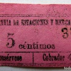 Coleccionismo Billetes de transporte: ANTIGUO BILLETE DE TRANVÍA.. Lote 174398390