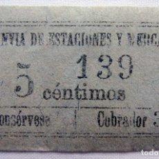 Coleccionismo Billetes de transporte: ANTIGUO BILLETE DE TRANVÍA.. Lote 174412338
