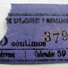 Coleccionismo Billetes de transporte: ANTIGUO BILLETE DE TRANVÍA.. Lote 174412489