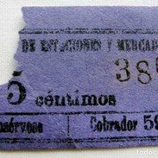 Coleccionismo Billetes de transporte: ANTIGUO BILLETE DE TRANVÍA.. Lote 174412605