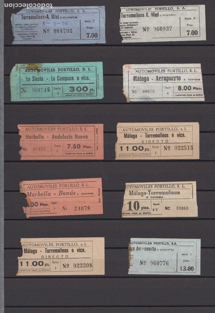 34 BILLETES DIFERENTE AUTOMOVILES PORTILLO MALAGA TOLOX COIN MARBELLA TORREMOLINOS RINCON VICTORIA (Coleccionismo - Billetes de Transporte)