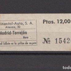 Coleccionismo Billetes de transporte: BILLETE EMPRESA CONTINENTAL AUTO MADRID TORREJON 1970. Lote 175539629