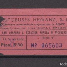 Coleccionismo Billetes de transporte: BILLETE AUTOBUSES HERRANZ SAN LORENZO A ESTACION FERREA SERVICIO RENFE . Lote 175540392