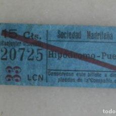 Coleccionismo Billetes de transporte: BILLETE DE TRANVIA MADRID. HIPODROMO-PUERTA DEL SOL 15 CTS. PUBLICIDAD AL DORSO. Lote 175594135