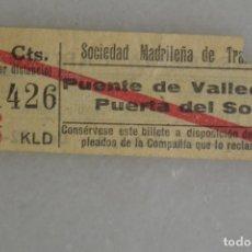 Coleccionismo Billetes de transporte: BILLETE DE TRANVIA MADRID. PUENTE VALLECAS- PLAZA MAYOR 15 CTS. PUBLICIDAD AL DORSO. Lote 175594287