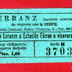Coleccionismo Billetes de transporte: BILLETE DE EMPRESA HERRANZ COMBINACION CON FERROCARRILES SAN LORENZO A ESTACION 1,60 PTAS.. Lote 175850983