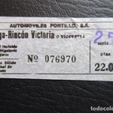 Coleccionismo Billetes de transporte: BILLETE AUTOMOVILES PORTILLO DE MALAGA RINCON DE LA VICTORIA AÑO 1978. Lote 175892103