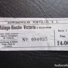 Coleccionismo Billetes de transporte: BILLETE AUTOMOVILES PORTILLO DE MALAGA RINCON DE LA VICTORIA AÑO 1974. Lote 175892130