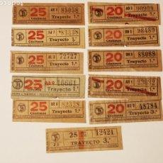 Coleccionismo Billetes de transporte: BILLETE TRANSPORTE, TRAMVIA, TRANVIA BARCELONA 11 BILLETES CAPICUA. Lote 176022090