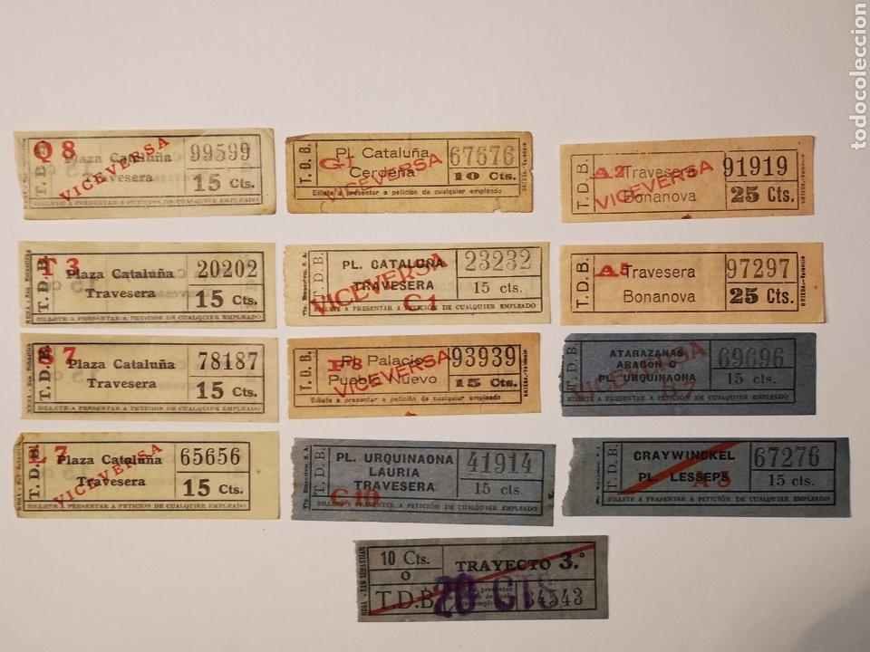Coleccionismo Billetes de transporte: BILLETES TRANSPORTE TRAMVIA, TRANVIA BARCELONA. LOTE 13 BILLETES CAPICUA - Foto 3 - 176022379