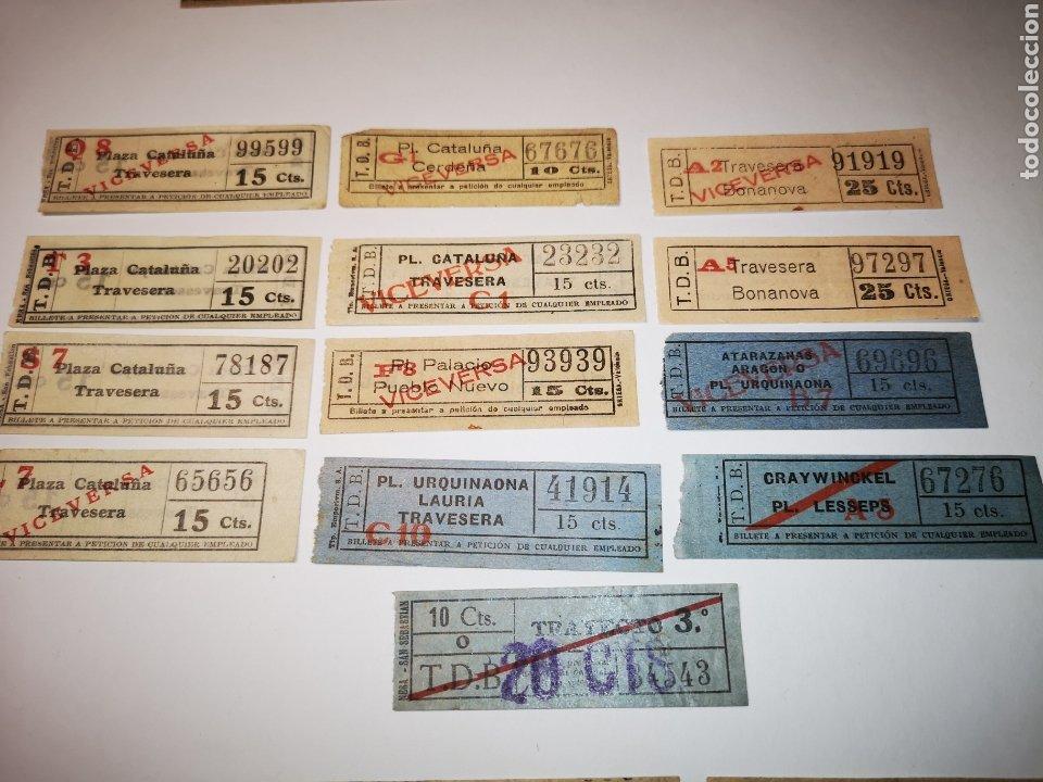 BILLETES TRANSPORTE TRAMVIA, TRANVIA BARCELONA. LOTE 13 BILLETES CAPICUA (Coleccionismo - Billetes de Transporte)