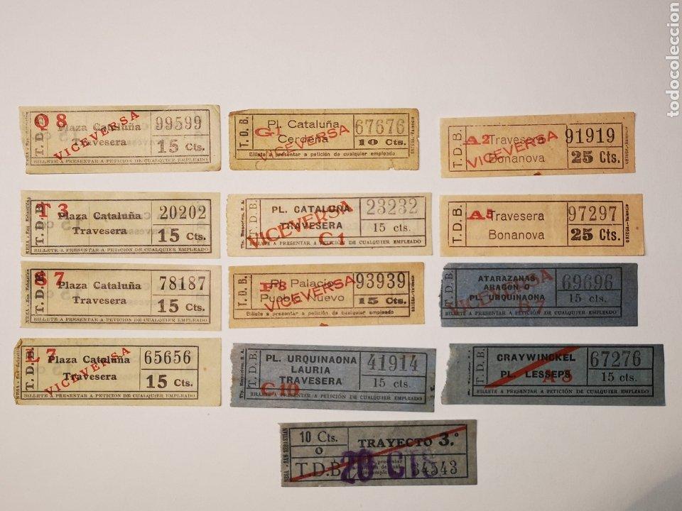 Coleccionismo Billetes de transporte: BILLETES TRANSPORTE TRAMVIA, TRANVIA BARCELONA. LOTE 13 BILLETES CAPICUA - Foto 2 - 176022379