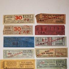 Coleccionismo Billetes de transporte: LOTE 10 BILLETES TRANSPORTE TRANVIA, TRAMVIA. AUTOBUSES BARCELONA. CAPICUAS. Lote 176022545