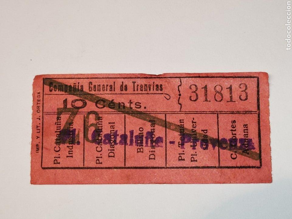 BILLETE TRANSPORTE TRANVIA, TRAMVIA.COMPAÑÍA GENERAL DE TRANVIAS DE BARCELONA. CAPICUA. 31813.10 CTS (Coleccionismo - Billetes de Transporte)