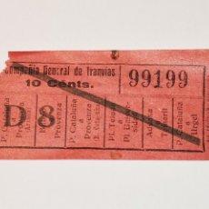 Coleccionismo Billetes de transporte: BILLETE TRANSPORTE TRANVIA, TRAMVIA.COMPAÑÍA GENERAL DE TRANVIAS DE BARCELONA. CAPICUA. 99199.10 CTS. Lote 176023897