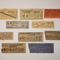Coleccionismo Billetes de transporte: LOTE DE 10 BILLETES TRANSPORTE TRANVIA, TRAMVIA. DE BARCELONA. CAPICUAS. Lote 176024303