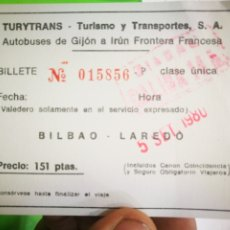 Coleccionismo Billetes de transporte: BILLETE BILBAO LAREDO 1980 TURYTRANS. Lote 176119357