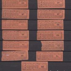 Coleccionismo Billetes de transporte: LOTE 13 BILLETES CAPICUA NUMERO DIFERENTE 08980 15451 22122 22422 29892 38383 41314 VALENCIA TRANVIA. Lote 176180564