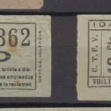 Coleccionismo Billetes de transporte: 2 BILLETE CAPICUA 26362 47574 VALENCIA TRANVIA. Lote 176180682