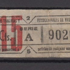 Coleccionismo Billetes de transporte: BILLETE CAPICUA 90209 VALENCIA TRANVIA. Lote 176180700