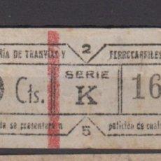Coleccionismo Billetes de transporte: BILLETE CAPICUA 16361 VALENCIA TRANVIA. Lote 176180730