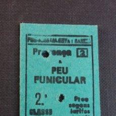 Coleccionismo Billetes de transporte: BILLETE EDMONSON - FERROCARRILS DE LA GENERALITAT DE CATALUNYA - PROVENÇA A PEU FUNICULAR AÑO 83. Lote 176217942