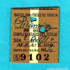 Coleccionismo Billetes de transporte: MEDIO BILLETE DE TREN CIA.M.Z.A. MUY ANTIGUO 08-06-1935 BARCELONA-Pº DE GRACIA A PICAMOIXONS. Lote 176385138