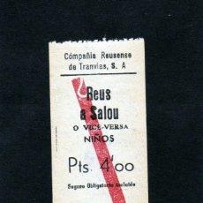 Coleccionismo Billetes de transporte: CURIOSO BILLETE EN PAPEL DEL CARRILET REUS A SALOU TARIFA PARA NIÑOS PTAS. 4 (NO SE ÉPOCA). Lote 176944599