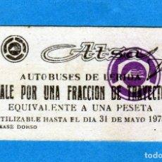 Coleccionismo Billetes de transporte: BILLETE DE AUTOBUSES DE LERIDA ATTSA VALE POR UNA FRACCIÓN DE TRAYECTO EQUIVALENTE A UNA PESETA. Lote 177000647