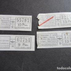 Coleccionismo Billetes de transporte: LOTE 4 BILLETES DIFERENTES TRAYECTOS URBAS URBANIZACIONES Y TRANSPORTES BARCELONA. Lote 177377713