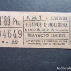 Coleccionismo Billetes de transporte: BILLETE CAPICUA 94649 EMT TRANVIAS AUTOBUSES MADRID. Lote 177702502