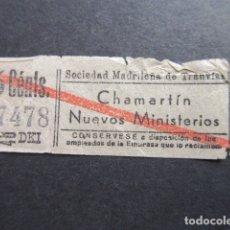Coleccionismo Billetes de transporte: BILLETE CAPICUA 87478 SOCIEDAD MADRILEÑA TRANVIAS MADRID. Lote 177704079