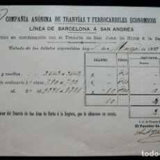 Coleccionismo Billetes de transporte: COMPAÑIA ANONIMA DE TRANVIAS INTERESANTE DOCUMENTO DE LA LINEA A S. ANDRES A S. JUAN DE HORTA S. XIX. Lote 178139674