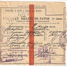 Coleccionismo Billetes de transporte: MADRID 1940 BILLETE DE FAVOR FERROCARRILES DE MADRID A ZARAGOZA Y A ALICANTE.. Lote 178141192