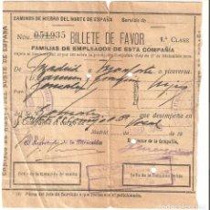 Coleccionismo Billetes de transporte: MADRID 1940 BILLETE DE FAVOR FERROCARRIL CAMINOS DE HIERRO DEL NORTE DE ESPAÑA.. Lote 178141324