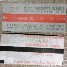 Coleccionismo Billetes de transporte: BILLETE COMBINADO CERCANÍAS RENFE MADRID. 1 ENERO 18. Lote 178713432