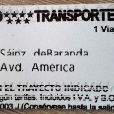 Coleccionismo Billetes de transporte: BILLETE METRO MADRID DE SÁINZ DE BARANDA A AVD, AMÉRICA. Lote 178713732