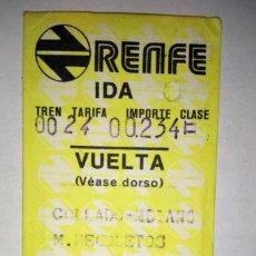 Coleccionismo Billetes de transporte: BILLETE TREN RENFE IDA Y VUELTA, COLLADO MEDIANO-M. RECOLETOS ** 23 JULIO 1981. Lote 178714237