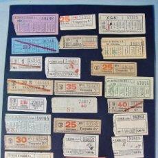Coleccionismo Billetes de transporte: COLECCIÓN DE 42 ANTIGUOS BILLETES DE TRANSPORTE DE BARCELONA. CAPICUA.. Lote 178921341