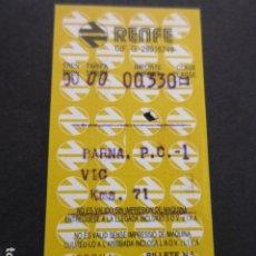 Coleccionismo Billetes de transporte: BILLETE HUGIN RENFE BARCELONA BARNA P.C. 1 VIC 1988. Lote 179031508