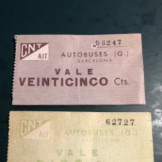 Coleccionismo Billetes de transporte: VALE AUTOBUSES BARCELONA 10/25 CTS CNT A AIT. Lote 179048302