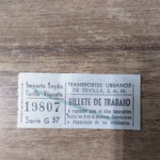 Coleccionismo Billetes de transporte: MFF.- TICKET DE TRANSPORTES URBANOS DE SEVILLA. BILLETE DE TRABAJO.-. Lote 179189060