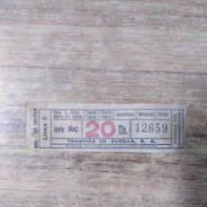 Coleccionismo Billetes de transporte: MFF.- BILLETE DE TRANSPORTE DE TRANVIAS DE SEVILLAA, S. A. .-. Lote 179190052