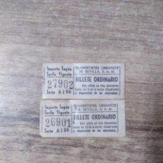 Coleccionismo Billetes de transporte: MFF.- 2 BILLETES ORDINARIO DE TRNSPORTES URBANOS DE SEVILLA, S. A. M. .-. Lote 179190207
