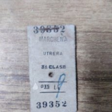 Coleccionismo Billetes de transporte: MFF.- BILLETE DE TREN MARCHENA UTRERA. 3ª CLASE.-. Lote 179190507